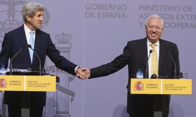 John Kerry y Margallo en la visita del político americano a España