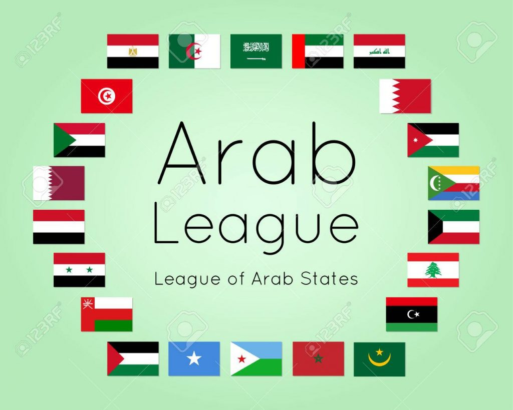 Member states of Arab League, set of country flags (League of Arab States, regional organization of Arab countries), vector illustration, flat icons. Image for infographic design, banner for summit.