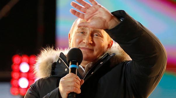 Vladimir Putin tras ser nombrado ganador en las elecciones presidenciales de Rusia del domingo 18 de marzo. Fuente: euronews
