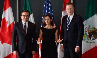 Ildefonso Guajardo Villarreal, ministro de Economía de México, Chrystia Freeland, ministra canadiense de Relaciones Exteriores y Robert E. Lighthizer, embajador de Estados Unidos y Representante de EEUU en las actuales negociaciones del TLCAN. Fuente: rcinet.ca