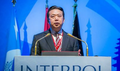 Bali (Indonesia), 10/11/2016.- (FILE) - A handout image made available by INTERPOL showing Meng Hongwei, Chinese President of Interpol, speaking in Bali, Indonesia (reissued 07 October 2018). Reports on 07 October 2018 state that the INTERPOL General Secretariat in Lyon, France has received the resignation of Mr Meng Hongwei as President of INTERPOL with immediate effect. Under the terms of INTERPOL'Äôs Constitution and internal regulations, the Senior Vice-President serving on INTERPOL'Äôs Executive Committee, Mr Kim Jong Yang of South Korea, becomes the Acting President. (Francia, Corea del Sur, Laos) EFE/EPA/INTERPOL / HANDOUT HANDOUT EDITORIAL USE ONLY/NO SALES