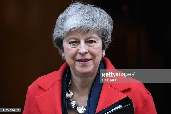 LONDON, ENGLAND - FEBRUARY 26:  Prime Minister Theresa May Leaves 10 Downing Street to address Parliament on progress in Brexit negotiations on February 26, 2019 in London, England